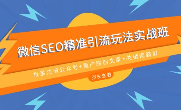 微信SEO精准引流玩法实战班,批量注册公众号 量产原创文 关键词霸屏