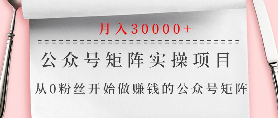 公众号矩阵实操项目,从0粉丝开始做赚钱的公众号矩阵,月入30000
